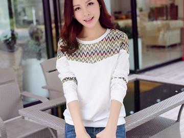 Vente avec paiement en ligne: À manches longues t-shirt femmes t shirt rayé t-shirt femme