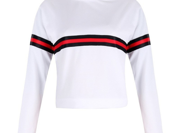 Vente avec paiement en ligne:  Bande D'été Automne T Shirt Femme Causal T-shirt Femmes