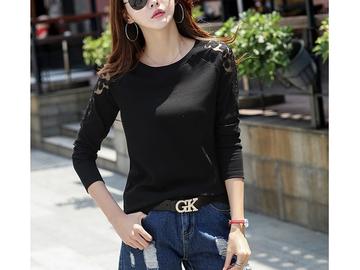 Vente avec paiement en ligne:  épaule t-shirt femmes tops o-cou t chemises femmes t shirt