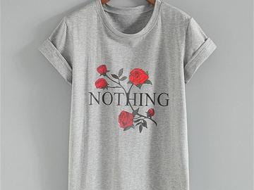 Vente avec paiement en ligne:  T-shirt Femmes Coton Étranger Choses Imprimer T-shirt 2018