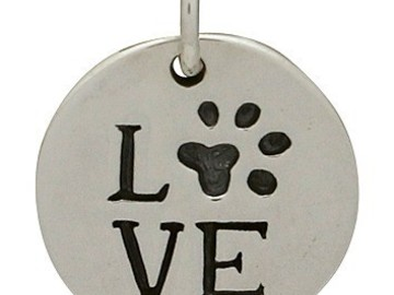 "Selling: Sterling Silver ""LOVE"" with Pawprint Disc"