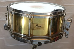 Selling with online payment or cash/check/money order/cash app/Venmo: Pearl Free Floating Snare Drum 5x14 Brass Shell VG $350 obo