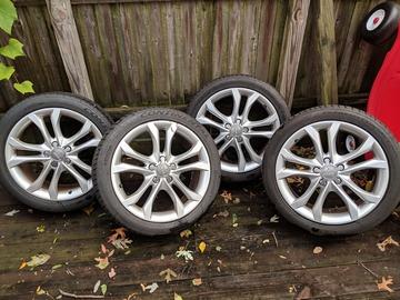 "Selling: (4) 5x112 - 18"" Audi OEM factory 10 spoke rims w/Continental tire"