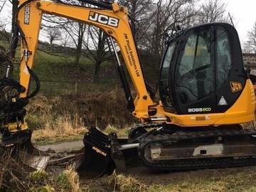 Hourly Equipment Rental: JCB 8085 8T Excavator with Tilt Rotator - Operated