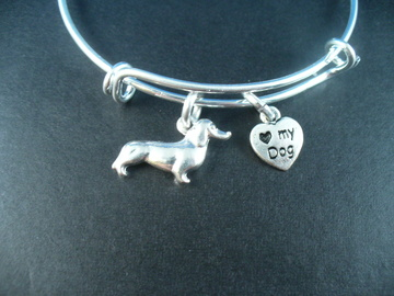 Selling: Dachshund Stainless Steel Bangle Bracelet, I Love My Dog