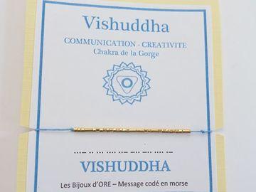 Vente au détail: Bracelet en OR codé en morse : VISHUDDHA