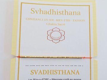 Vente au détail: Bracelet en OR codé en morse : SVADHISTHANA