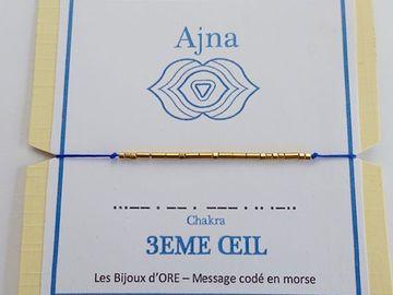 Vente au détail:  Bracelet CHAKRA du 3EME OEIL code morse