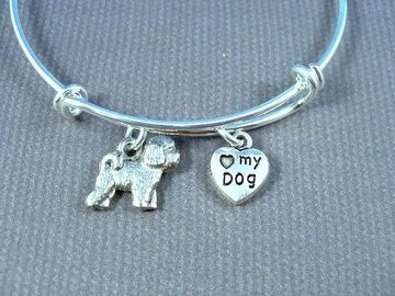 Selling: Bichon Frise Puppy, I Love My Dog, Stainless Steel Bangle