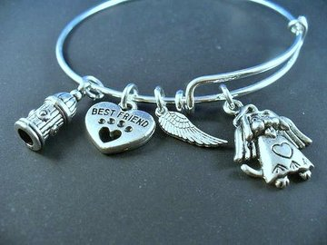 Selling: Dog Remembrance, Dog Angel, Best Friend, Stainless Steel Bangle