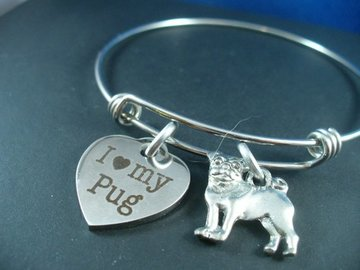 Selling: I  Love My Pug, Stainless Steel Silver Bangle Bracelet