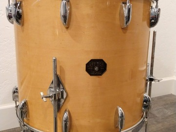 """Selling with online payment: Gretsch 1970's Natural Maple 18"""" Floor Tom, Stop Sign Badge"""
