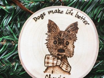 Selling:  Dog portrait Christmas Ornaments, Custom Dog Portrait Ornament