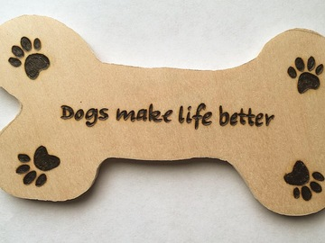 Selling: Dog done magnet with quote and paw prints