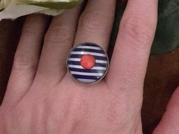 "Sale retail: bague ""un p'tit pois rouge..."""