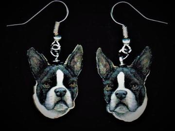 Selling: Boston Terrier Silver Dangle Earrings