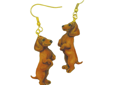 Selling: Dachshund (Red/Brown), Gold Dangle Earrings