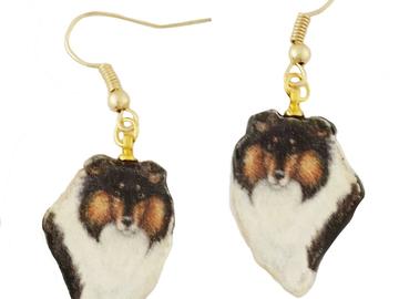 Selling: Shetland Sheepdog, Tri-Color, Gold Dangle Earrings