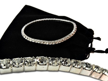 Liquidation/Wholesale Lot: 40-- Swarovski Rhinestone Bracelets--Crystal/Silvertone $2.99 ea