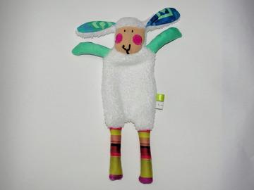 Sale retail: Doudou Mouton blanc et coloré, rayé aux joues roses