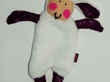 Sale retail: Doudou Mouton Blanc-violet au toucher de velours