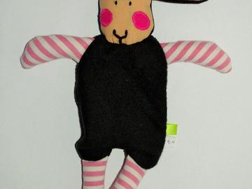 Sale retail: Doudou Mouton Noir - rayures roses