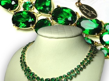 Liquidation/Wholesale Lot: 2-Suzanne Somers' Sterling Silver Vermeil Emerald CZ Necklace