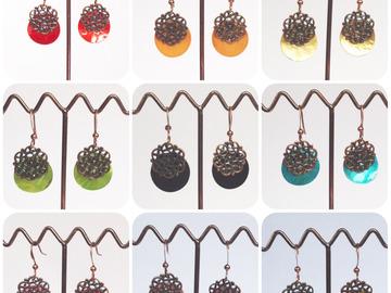 Sale retail: Boucles d'oreilles nacre arabesque