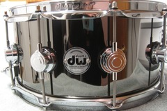 Selling with online payment or cash/check/money order/cash app/Venmo: DW Collectors Series Snare Drum Black Nickel Over Brass w/Chrome
