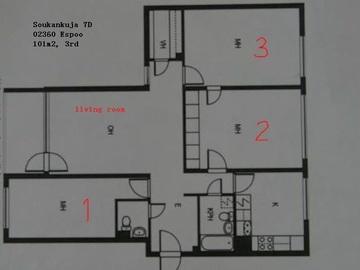 Annetaan vuokralle: Furnished rooms in Espoo, May 1.2019...onward, bills covered