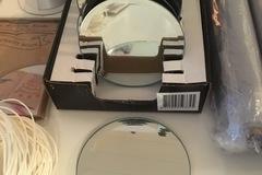 Ilmoitus: Kynttilän alusia, 10 cm leveä, 23 kpl, (peili)