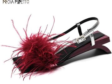 Vente avec paiement en ligne: Perfetto 2018 Nouveau Design Plume Femmes Sandales Étrange
