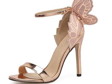 Vente avec paiement en ligne: Femmes Sandales 3D Papillon Wing Broderie Sandales À Talons Hauts