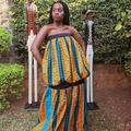 Vente au détail: Robe Ahmose en wax avec une touche de satin noir