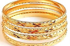 Buy Now: 1000-Micron Plated, Gold Finish Bangles/Bracelet-FREE exchange