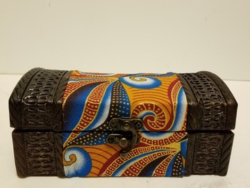 Selling with online payment: Small African Print Jewelry/Storage Box (Orange)
