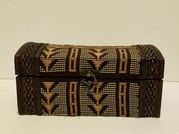 Selling with online payment: Small African Print Jewelry/Storage Box (Brown)