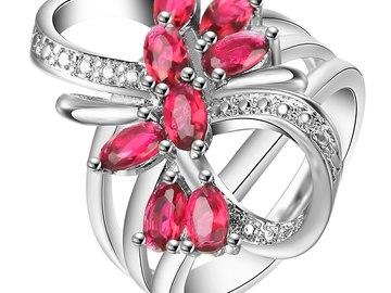 Vente avec paiement en ligne: Rouge Fleur Anneaux nouvelle Usine bijoux drop shipping princesse