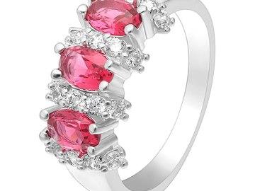 Vente avec paiement en ligne: 3 couleur vert bleu rose pierre femmes anneau de mariage