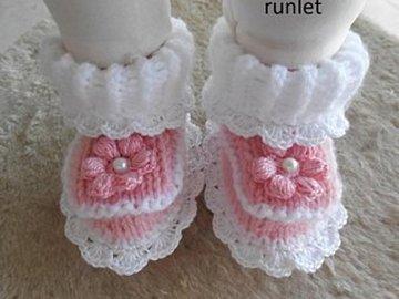Vente au détail: chaussons bébé baptême blanc en laine,chaussons bébé laine,chauss
