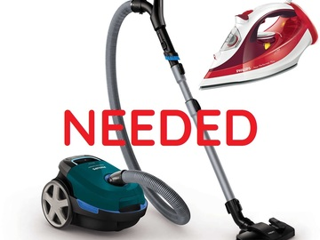 Tarvitaan: IRON AND VACUUM CLEANER NEEDED