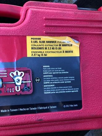 Mac tools slide hammer kit - USED AUTO PARTS DEPOT