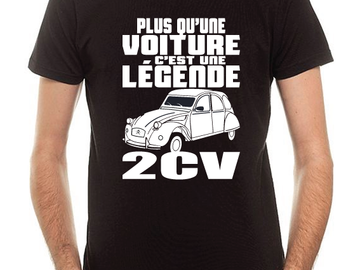 Sale retail: T-shirt Noir 2CV Légende