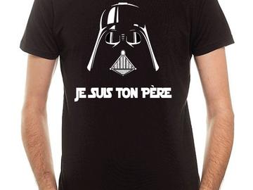 Sale retail: T-shirt Coton Noir STAR WARS JE SUIS TON PERE