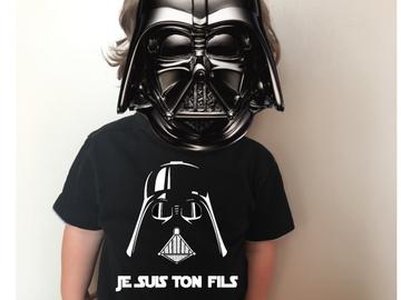 Sale retail: Tee shirt Noir enfant STAR WARS JE SUIS TON FILS