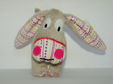 Vente au détail: Petit âne gris - rayures colorées - création originale