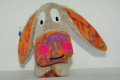 Sale retail: Petit âne gris - orange et tâches colorées - création originale