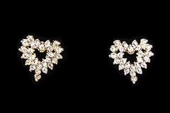 Liquidation Lot: 40 pairs-- Heart Shaped Swarovski Rhinestone Earrings $2.99 pr