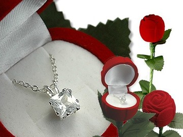 Buy Now: (30) CZ Square Pendant Necklace in Red Rose Box