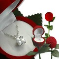 Liquidation Lot: 30-- CZ Square Pendant Necklace in Red Rose Box - $3.99